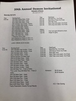 Track Schedule of Events
